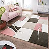 T&T Design Tapis Moderne Salon À Carreaux Tendance Pastel Rose Beige Gris Crème, Dimension:80x150 cm
