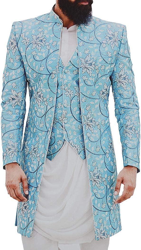 INMONARCH Mens Sky-Blue Embroidered Stylish Jodhpuri Suit Indian Wedding Suit JO1065