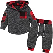 Toddler Infant Baby Boys Black Plaid Long Sleeve Hoodie Tops Sweatsuit Pants Outfit Set