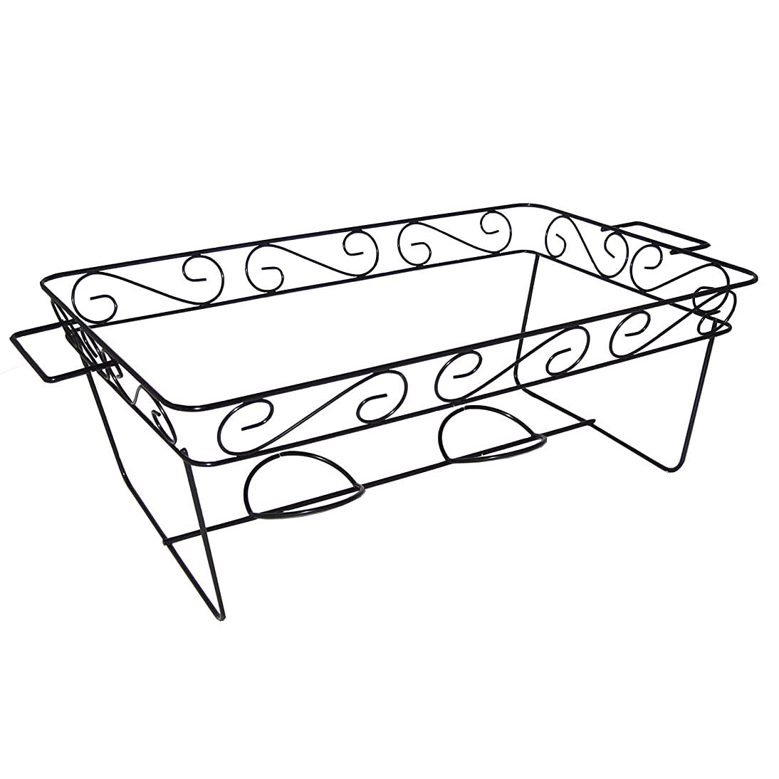 Party Essentials Elegance Full Size Heavy Duty Chafing Rack, Decorative Wire Buffet Rack Stand, Serving Trays Frame Food Warmer, Black (Case of 12) spob345642511158