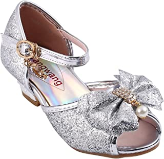 0064010e3fb3ab Wangwang Kids Girls Sequin Sandals Princess Crystal High Heels Shoes
