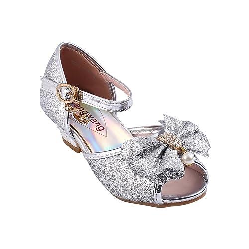 17fe5272046 Wangwang Kids Girls Sequin Sandals Princess Crystal High Heels Shoes