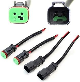 iJDMTOY 2-Pk Heavy Duty Deutsch DT DTP Male/Female Adapters Connectors Pigtails, Good For Cubic LED Pod Lights, LED Light Bar, LED Work Lamps, Fog Lights, etc