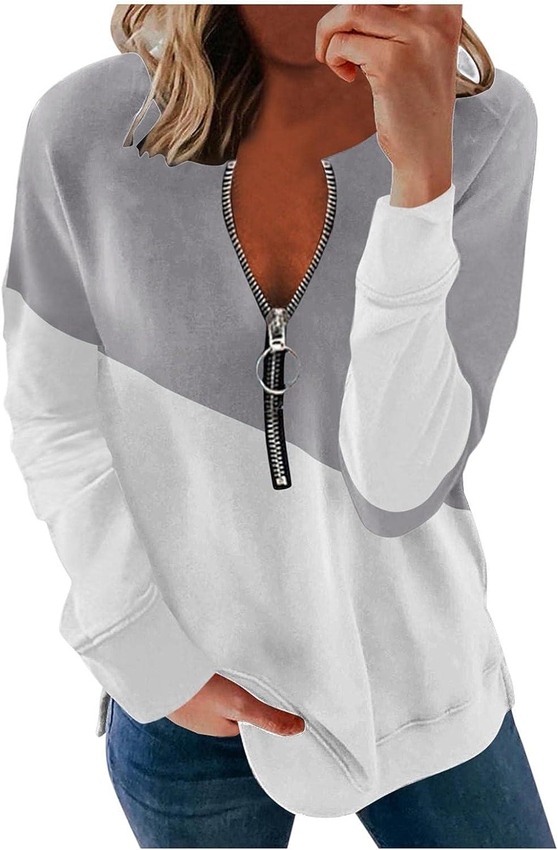 Sweatshirts for Women,Women's Oversized Sweatshirts Long Sleeve Fashion Print Color Matching Casual Pullover Shirt