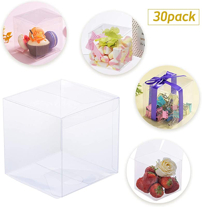 30 PCS Candy Apple Box 4 X 4 X 4 Clear Plastic Box For Packaging Gift Box For Caramel Apples Ornament Box For Wedding And Birthday Party DIY Design