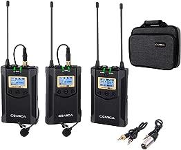 Comica CVM-WM100 Plus UHF 48-Channel Wireless Dual Lavalier Microphone System for Canon Nikon Sony Panasonic DSLR Camera, XLR Camcorder & Smartphone (2TX+1RX)