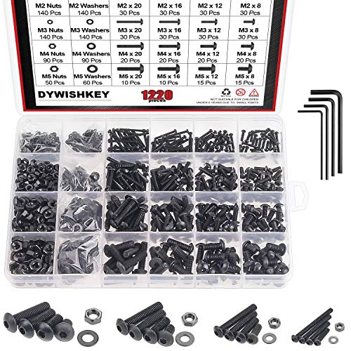 DYWISHKEY 1220 Pieces M2 M3 M4 M5, 10.9 Grade Alloy Steel Hex Button Head Cap Bolts Screws Nuts Washers Assortment Kit with Hex Wrenches