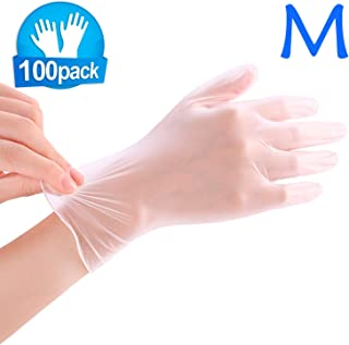 Enjoyee 100 Pcs Disposable Gloves PVC Free Rubber Latex Free Exam Gloves Non Sterile Comfortable White -M