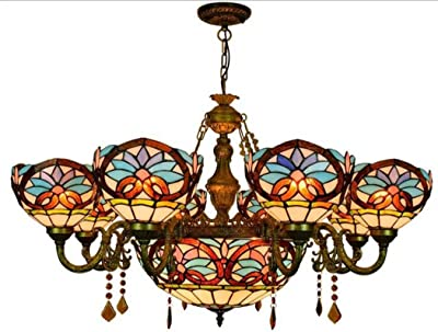 Retro Baroque Stained Glass Ceiling Light Tiffany Style Chandelier Pendant Lamp