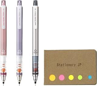 Uni Kuru Toga Auto Lead Rotation Mechanical Pencil Standard Model 0.5 mm, Body Color(Baby Pink/Violet/Silver), 3-pack, Sticky Notes Value Set