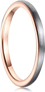 Cloyo 2mm Tungsten Stacking Rings for Men Women Matte Silver Brushed Face Wedding Bands Rose Gold Plated Comfort Fit Size ...