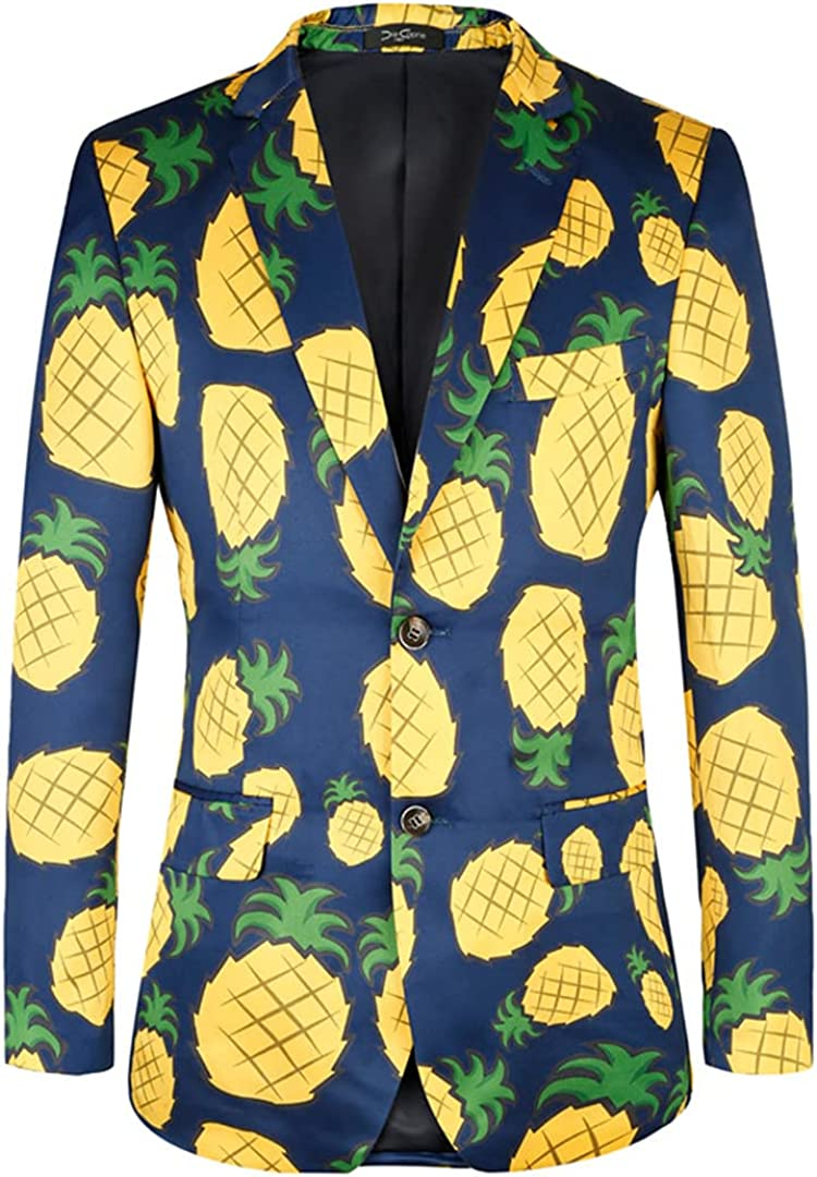 Men's Holiday Printing Leisure Suits Jackets Flower Pineapple Pattern Blazers