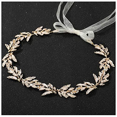 SWEETV Blätter Haarband Hochzeit, Gold Braut Haarschmuck Kristall Haarreif Hochzeit für Damen Handgefertigt Braut Stirnbänder