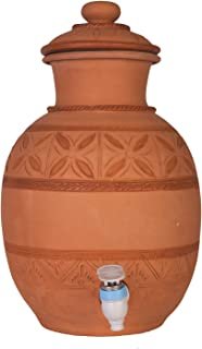 Village Décor Handmade Earthen Clay Water Pot with Tap and Lid / 2 Gallon Beverage Dispenser/Carafes Pitcher Table Top Kitchen Storage Eco Friendly Containers Pots Drinkware