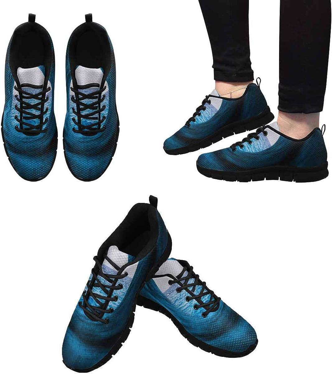 INTERESTPRINT Blue Tunnel Calm Sea Women's Athletic Walking Shoes Breathe Comfort Mesh