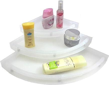 "Kitchenexp :Unbreakable"" Premium Quality Crystal Clear Corner Set Plastic Bathroom Corner Shelves (Pack Of 3, Clear)"