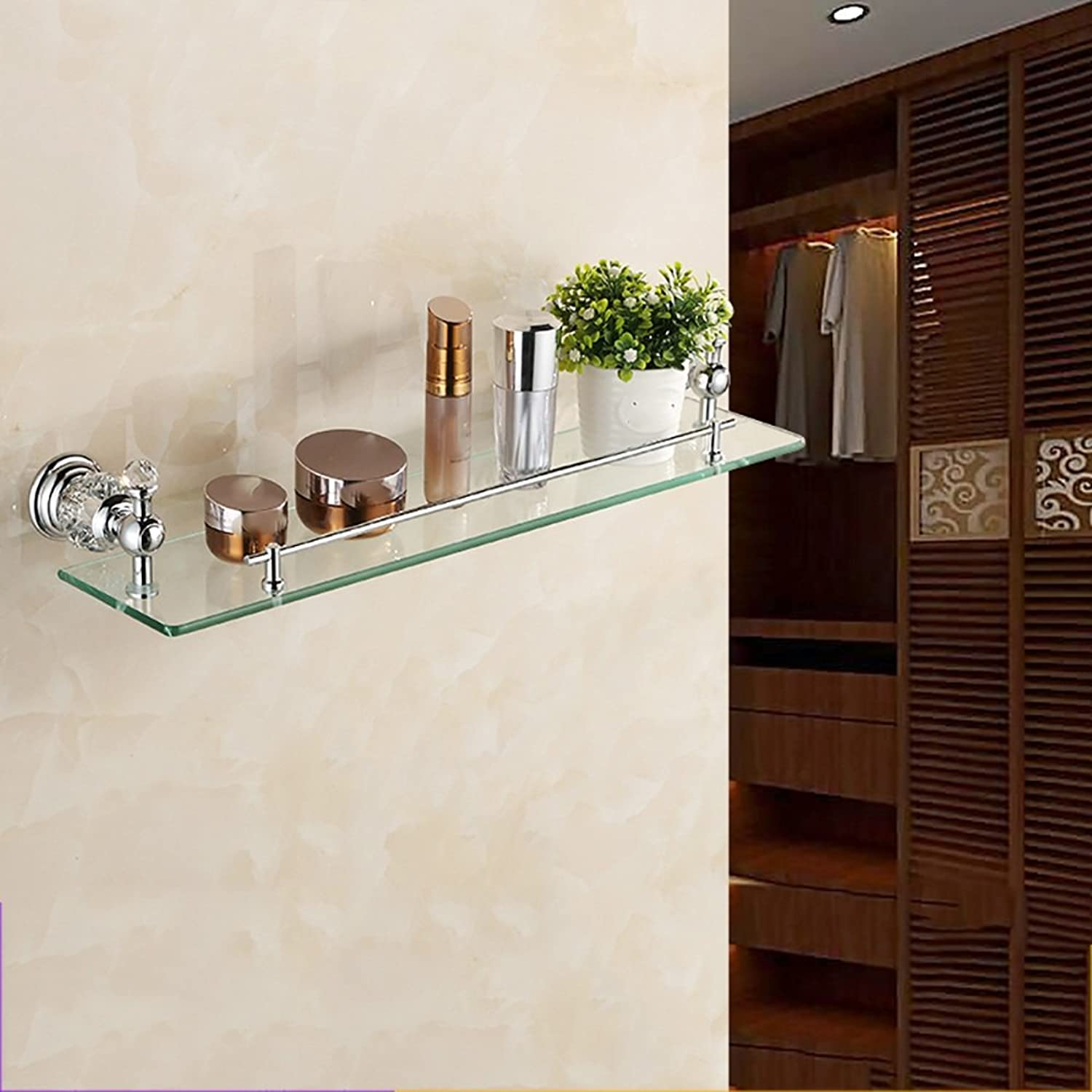 ZZHF yushizhiwujia Stainless Steel Single Layer Shelf European Bathroom Dresser Rack(3 colors Available) (color   A)