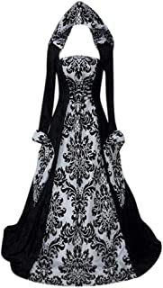 TOTOD Women Medieval Renaissance Costume Cosplay Victorian Vintage Retro Gown Long Dress for Halloween/Christmas