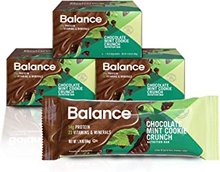 Balance Bar, Healthy Protein Snacks, Chocolate Mint Cookie Crunch, With Vitamin A, Vitamin C, and Vitamin D to Support Immune Health, 1.76 oz, Pack of Three 6-Count Boxes