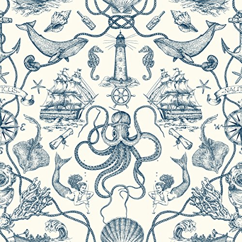 York Wallcoverings HO3361 Deep Sea Toile Wallpaper, Tailored