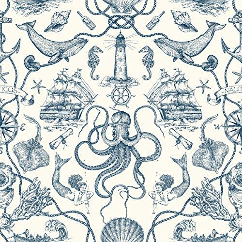 York Wallcoverings HO3361 Deep Sea Toile Wallpaper, Tailored