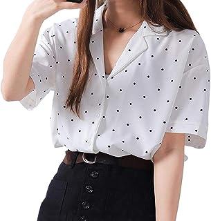 (ワンース) Wansi シャツ レディース ドット柄 ブラウス 夏 半袖 ゆったり 復古 トップス 折り襟 日常着