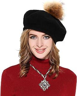 Womens French Beret Cap Wool Knit Winter Warm Beanie Hats with Fur Ball Pom Pom