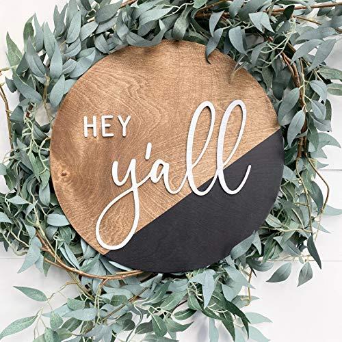 Ced454sy Hey Yall teken voordeur opknoping deur krans ronde houten bord opknoping teken 3D letters welkom krans voorzijde veranda Decor kleur dip