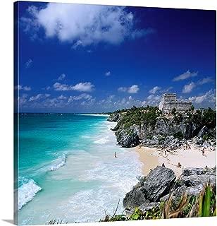 Mexico, Quintana Roo, Tulum Castle, Mayan Ruins Canvas Wall Art Print, 10