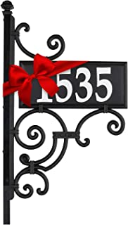 Whitehall Products 11245 Nite Bright Ironwork Reflective Address Post Sign, Black/White