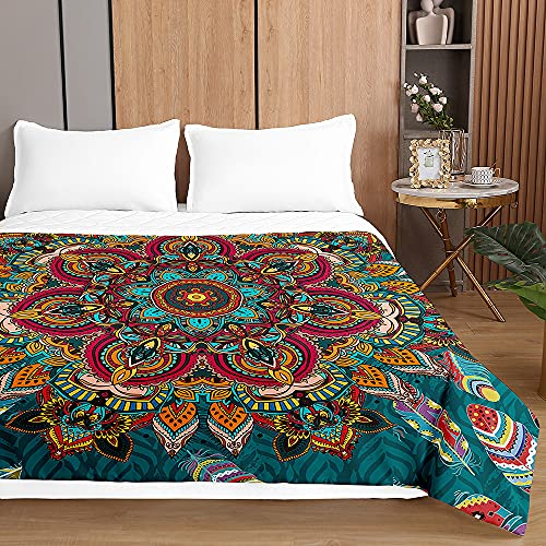Colcha de Verano Cubrecama Colcha Bouti, Chickwin 3D Mandala Ligero Edredón Manta de Dormitorio Suave Multiuso Colchas para Cama Individual Matrimonio (Pluma de Mandala Verde,230x280cm)