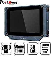 """PortKeys BM7 7"""" Super Bright 2000nit HDMI/3G-SDI Full HD On-Camera Field Monitor with 3D LUT and HDR Preview,Video Monitor for Sony A6500,A7/Canon 5D,1DX Mark Series/Nikon D3500,Panasonic GH4,Black"""