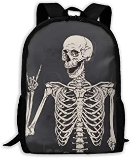 KIENGG Funny Skull Middle Finger Unisex Adult Unique Backpack,School Casual Sports Book Bags,Durable Oxford Outdoor College Laptop Computer Shoulder Bags,Lightweight Travel Daypacks