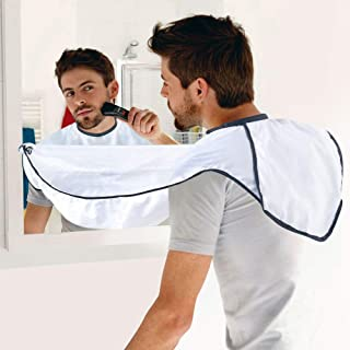 Beard Apron For Man Shaving & Hair Clippings Catcher Grooming Cape Apron Keep Sink Clean, with 4 Suction Cups, Gifts for Men - White