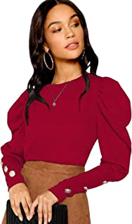 Women's Puff Sleeve Button Detail Round Neck Long Sleeve Tee Pullovers Tops