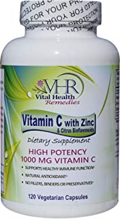 VHR Vitamin C 1,000 MG with ZINC & Citrus BIOFLAVONOIDS Preservative-Free High Potency Antioxidant Formula for Healthy Imm...