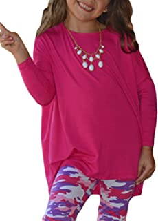 GOSOPIN Girls Casual Long Sleeve Knot Front T-Shirts Loose Tunic Tops 4-13Y