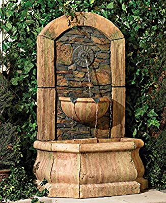 """Serena Rustic Outdoor Wall Water Fountain 50"""" High Tiered Tuscan Village for Yard Garden Patio Deck Home - John Timberland"""
