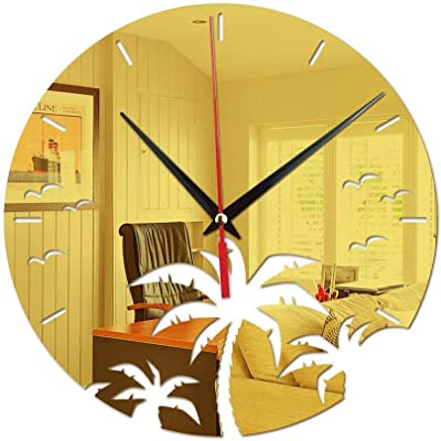 PQPQPQPQ Acrylic Mirror Coconut Tree Wall Stickers Clock Wall Clocks for Living Room Bedrooms Office