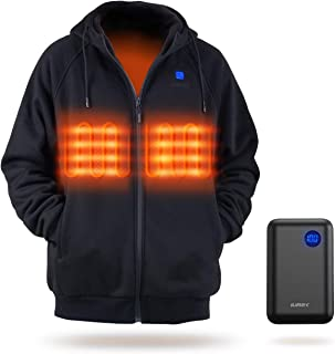 IUREK Heated Hoodie for Men Women, ZD940 Electric Heated Jacket with 10000mAh Battery Pack, 3 Heating Levels, Soft Heated ...