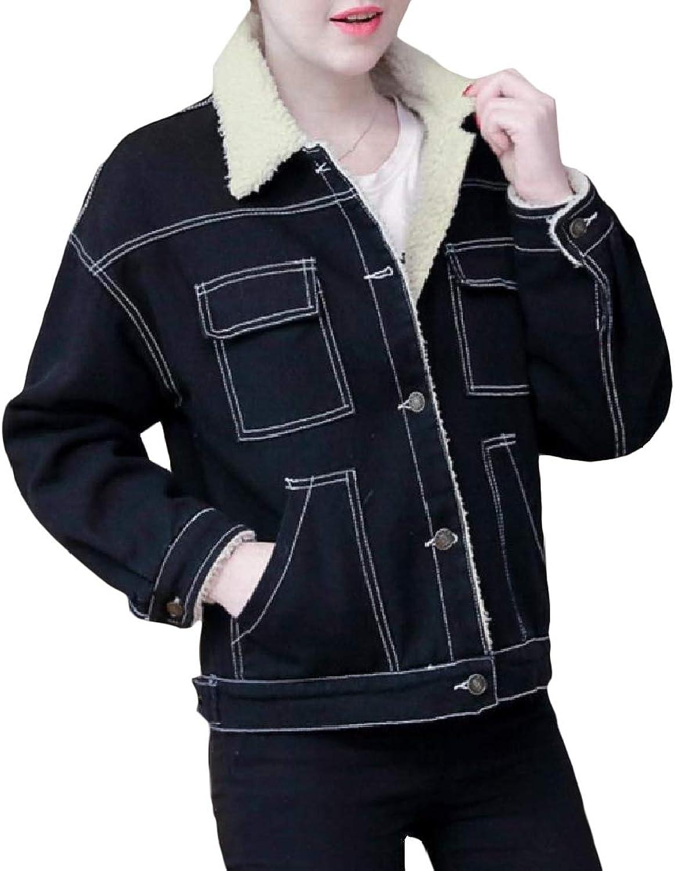 color&W Womens Velvet Button Denim Slim Thickened Lapel Short Mini Outwear Coat