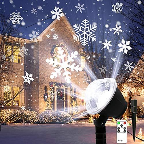 Lightess Luci del Proiettore Natale LED Lampada Proiezione Decorativo Effetto Fiocchi di Neve 4 Modalità Impermeabile IP65 con Telecomando Illuminazione Esterno per Festa, Natale, Giardino(S3)