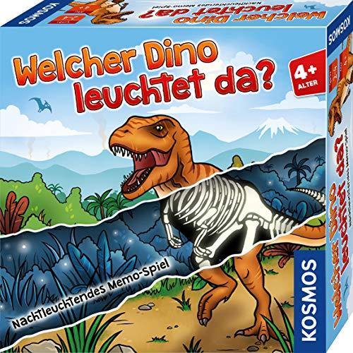 Kosmos 680701 Welcher Dino leuchtet da? Memo-Spiel, leuchtet im Dunkeln, Kinder-Spiel ab 4 Jahre für 2-4 Spieler, Geburtstagsgeschenk, lustiges Gesellschaftsspiel nicht nur für Dinosaurier-Fans