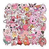 CHUDU Pegatinas Rosadas para Maletas de Pokémon, Pegatinas de animación Pokémon, Pegatinas Creativas de decoración a Prueba de Agua, 50 Hojas