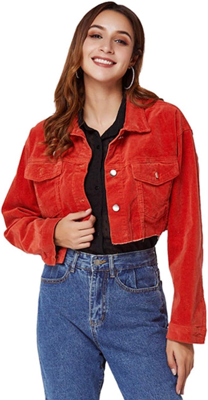 Denim Jacket Women's Lapel Fashion BF Style Loose Comfortable Casual All-Match Red Short Frayed Hem Jacket (Size : 1X-Large)