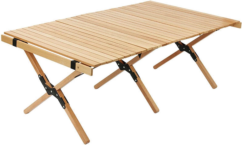 Mesa plegable de madera de mesa de picnic al aire libre portátil, Mesa de camping portátil con bolsa de almacenamiento, Mesa plegable de pesca de playa de barbacoa de viaje, 120 × 60 × 43 CM