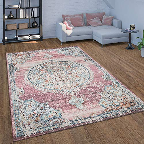 Indoor & Outdoor Area Rug for Balcony or Patio, Oriental Pattern in Pink, Size:6'7' x 9'2'
