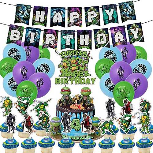 TMNT Teenage Mutant Ninja Turtles Birthday Party Supplies and Decorations for Boys Include Cake Topper Ballons Banner…