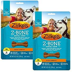 Zuke's Z-Bone Dental Chew Dog Treats, Carrot, Mini, 36 Chews