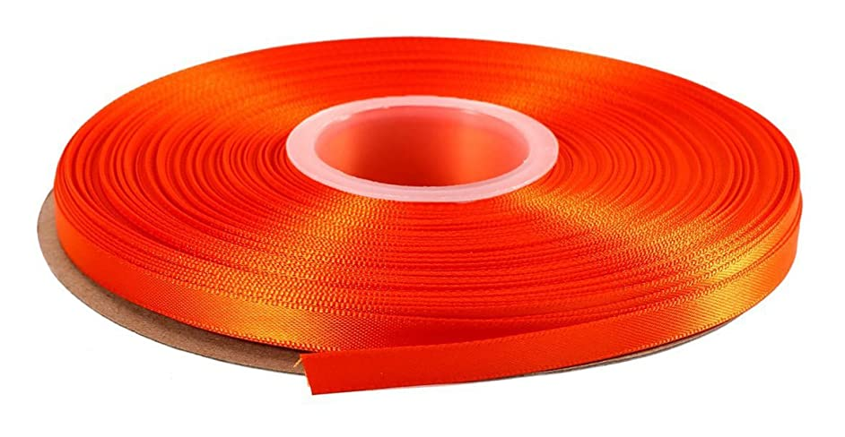 DUOQU 3/8 inch Wide Double Face Satin Ribbon 50 Yards Roll Multiple Colors Torrid Orange